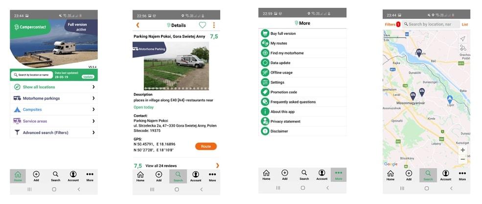 aplikacja do parkingu dla kampera